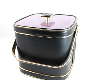 Vintage mid century modern ice bucket - midcentury, gold-tone and black, leather-like vinyl - bar accessories, decor