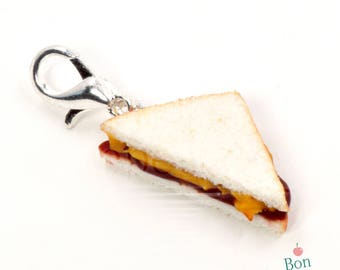 Peanut Butter and Jelly Charm, Miniature Fake Food Charm, Polymer Clay Jewelry, Dollhouse Fake Food, Food Stitch Markers