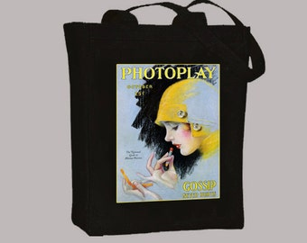 1920s Photoplay Flapper Magazine Cover on Natural or Black Canvas Tote Bag - Selection of sizes available