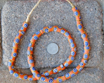 Krobo Beads: Gold/Orange/Blue 10x28mm