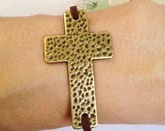 Sideways Cross Charms -5pcs Antique Bronze Large Hammered Cross Bracelet Charm Pendants 29x50mm B401-5