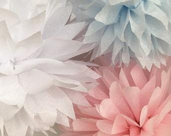 10 Tissue Paper Pom Poms-- Choose Your Colors-- Classroom/ Reception/ Wedding/ Surprise Party Decorations
