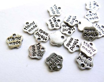 20 Antique Silver Handmade Tag Charms - 21-43-5