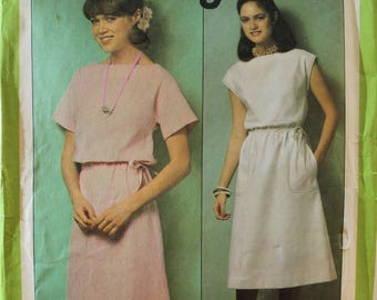 Vintage 1978 Simplicity 8511 sewing pattern.JIFFY, womans pullover dress, Size 14