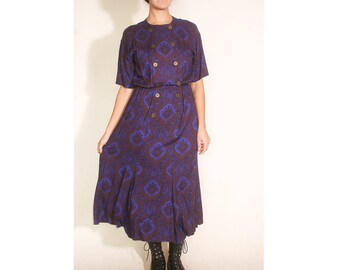 Vintage 1980s Paisley Ultra Violet Purple Liz Claiborne Short Sleeve Double Breasted Dress size 8