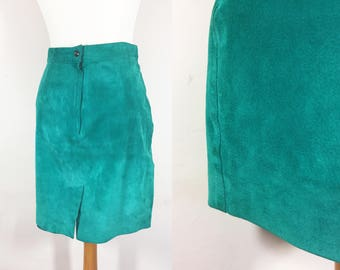"""Suede Mini Pencil Skirt Tuquoise Green 28"""""""