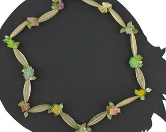 Vintage Iridescent Sweet Pastel Flower Beaded Necklace