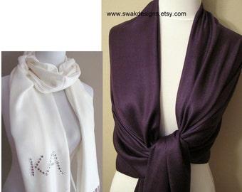 Pashmina Scarf Dark Purple Bridal Shawl Bridesmaid Gift Idea Wedding Shawl Wrap Bridal Accessories Womens Scarf - or CHOOSE Your Color