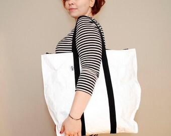 Tyvek® white tote large bag black handles