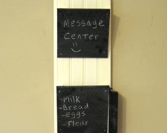 Wall letter holder - off-white bead board with chalkboard pockets - Ready to Ship mail organizer, bill sorter