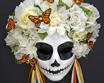 Women's Day Of The Dead Masks, Monarchs, Fanciful Masks, Costume Accessories, Masks & Prosthetics, Hand Painted Traditional Procession Masks