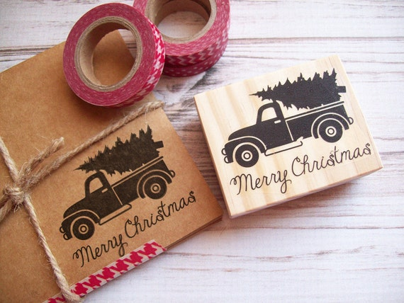 Vintage Truck Merry Christmas Stamp - Hauling Christmas Tree - Happy Holidays Greeting Card Rubber Stamp