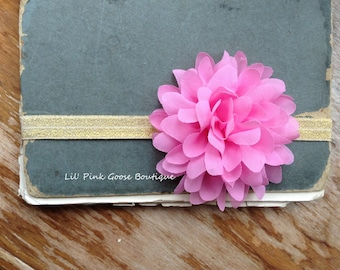 GOLD AND PINK Flower Headband, Newborn Headband, Pink Headbands, Newborn Baby, Baby Headbands, Infant Headbands, Pink Birthday Headband