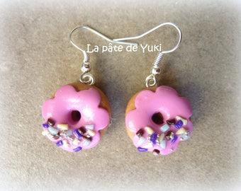 Handmade polymer clay pink donut earrings