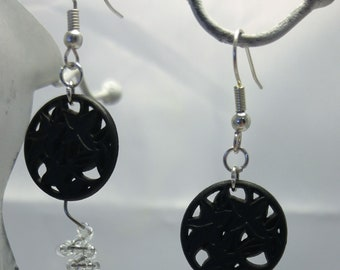 Elegant recycled button earrings