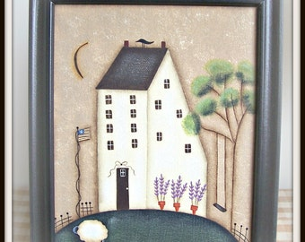 Spring Saltbox Primitive Canvas Painting Handpainted Picture Framed Home Decor