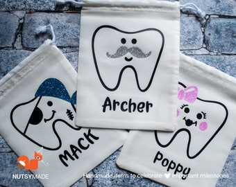 Tooth Fairy Bag - Tooth Holder - Personalised Tooth Bag - Tooth Fairy Keepsake - Tooth Fairy Kit - Tooth Fairy Pouch - Custom gift for kids