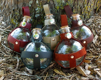 Steampunk Bottle with Leather Harness
