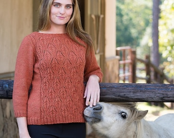 PDF Knitting Pattern Top-Down Cable and Lace Boatneck Pullover #191