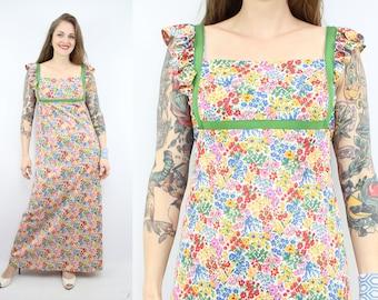 Vintage 70's SUE BRETT Wildflowers Maxi Dress / 1970's Spring Floral Dress / Summer / Prairie / Women's Size Small / Medium
