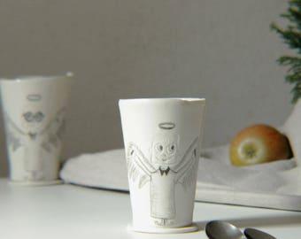 handmade porcelain mug, funny coffee mug with illustrated porcelain angel, porcelain mug with angel illustration, nice porcelain coffeemug