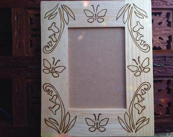 "5""x7"" Wood Burned Frame - (9""x 11"" frame / 5""x 7"" hole) Handmade Pyrography Art, Butterfly Art, Bohemian Wall Art"