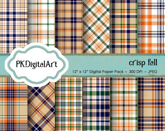 "Crisp Fall Plaid Digital Paper - ""Crisp Fall Plaid""  Scrapbook Paper Backgrounds Design Projects Crafting Supplies"