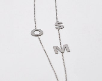 Sideways Initial Necklace, Initial Necklace Silver, Rose Gold Initial Necklace, Gold Initial Necklace, Gold Letter Necklace, Letter Necklace