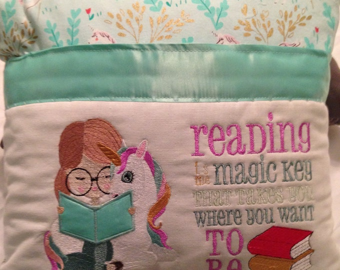 Pocket pillow embroidered unicorn child reading pillow reading is magic quote zip close teal satin trim aqua unicorn print soft flannel