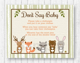 Woodland Forest Animal Don't Say Baby Baby Shower Game / Woodland Baby Shower / Clothespin Baby Shower Game / INSTANT DOWNLOAD A187