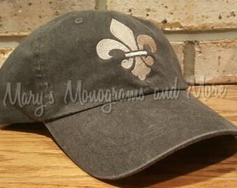 FREE Shipping - Fleur-de-Lis Hat - Fleur de Lis Baseball Hat - Fleurdelis embroidered cap - Personalized Fleur-de-lis Hat
