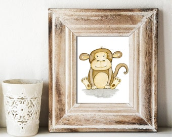 Giclee Art Print - Happy Monkey Watercolor - Animal Painting Print - Original Art by Angela Weber