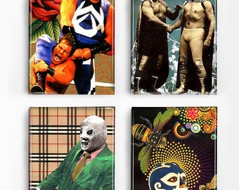 Set of 4 Magnets Mexican Wrestlers