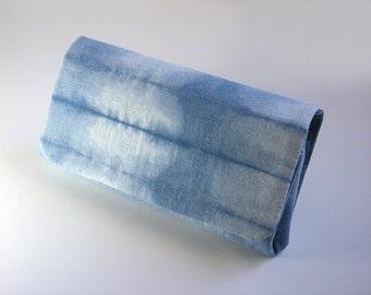Wallet, Indigo Blue, Japanese Shibori, Hand Dyed, Indigo, Blue, Shibori Pattern, travel wallet, passport, Purse, something blue, Aizome
