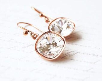 Earrings, Crystal Earrings, Copper Earrings, Dangle Earrings, Drop Earrings, Swarovski Earrings, Cushion Cut Earrings, Bridesmaid Earrings
