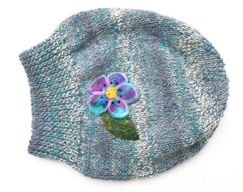 Snowstorm Slouch Hat - Blue Gray Winter Hat & Lilac Flower - Warm Gray Knitted Hat - gray hat wooly hat gray slouchy hat grey blue smart hat