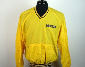 Vintage 80s Michigan Wolverines Pullover Windbreaker Adult Large L 80s Fashion Maize & Blue Made in the USA