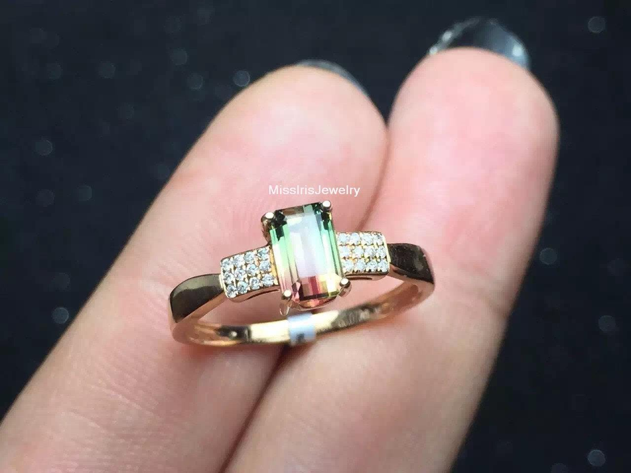 Watermelon Tourmaline Engagement Ring Bi-color Tourmaline