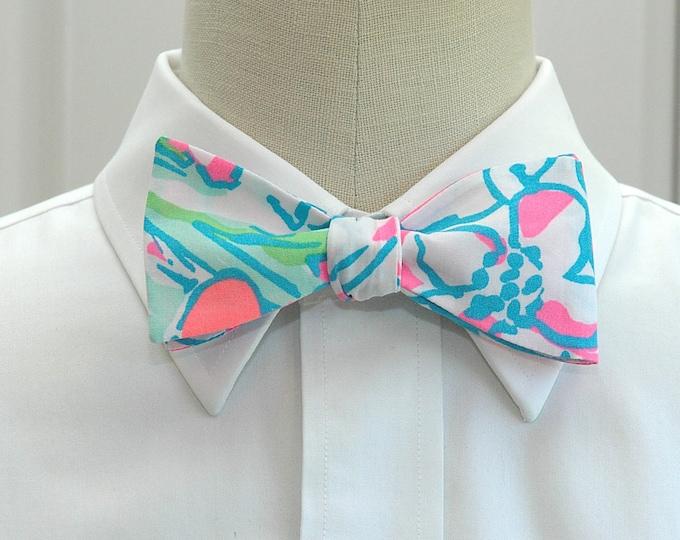 Men's Bow Tie, Splish Splash neon pink/aqua/white Lilly print bow tie, wedding bow tie, groom/groomsmen bow tie, prom bow tie, tux accessory