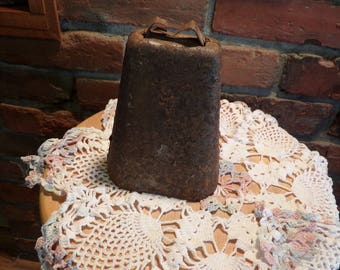 Antique Cow Bell, Rustic cow bell, Antique Primitive Cow Bell With Original Ringer, Antique Cow bell Hand Forged Farm Ranch Decor Rustic