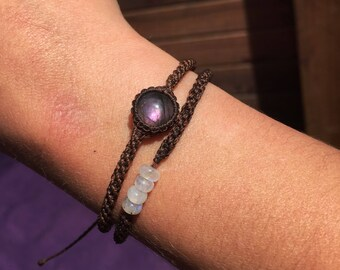 Double layered labradorite and moonstone beads bracelet!