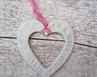 It's a Girl Loveheart Hanger, gift idea, stoneware pottery