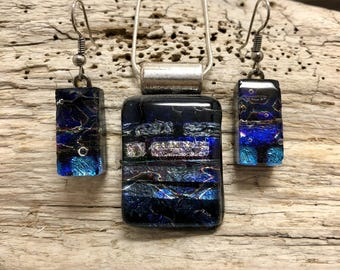 Jewelry, Dichroic glass, pendant and earring set, dichroic glass jewelry, dichroic glass, fused glass, handmade fused glass, glass jewelry