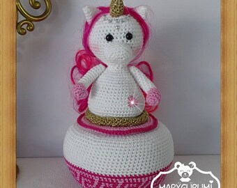 Box in Amigurumi crochet stuffed Unicorn