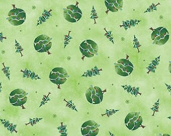 Green Christmas Tree Fabric - Snow Much Fun - Quilting Treasures - 23279G