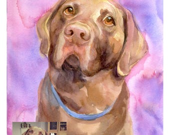 Custom Dog Painting, Original Watercolor, Pet portrait, Watercolor Portrait, Dog Custom Portrait