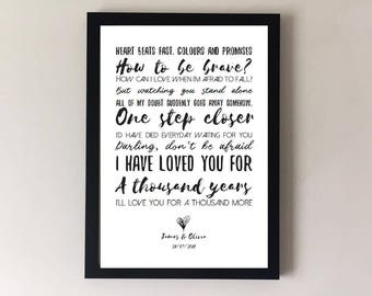 A thousand years, song lyrics print, wedding song first dance anniversary gifts wedding gift gift for husband gift for wife