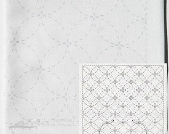 Sashiko Kit | Olympus Sashiko Patterns, Sashiko Fabric with Pre-Printed Pattern, Japanese Embroidery - ShiBou Tsunagi (No 3)