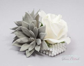 Grey Succulent & Rose Wrist Corsage. Wedding Flower- Prom Corsage- Real Touch Corsage- Wrist Corsage. natural white, gray, fuzzy succulent