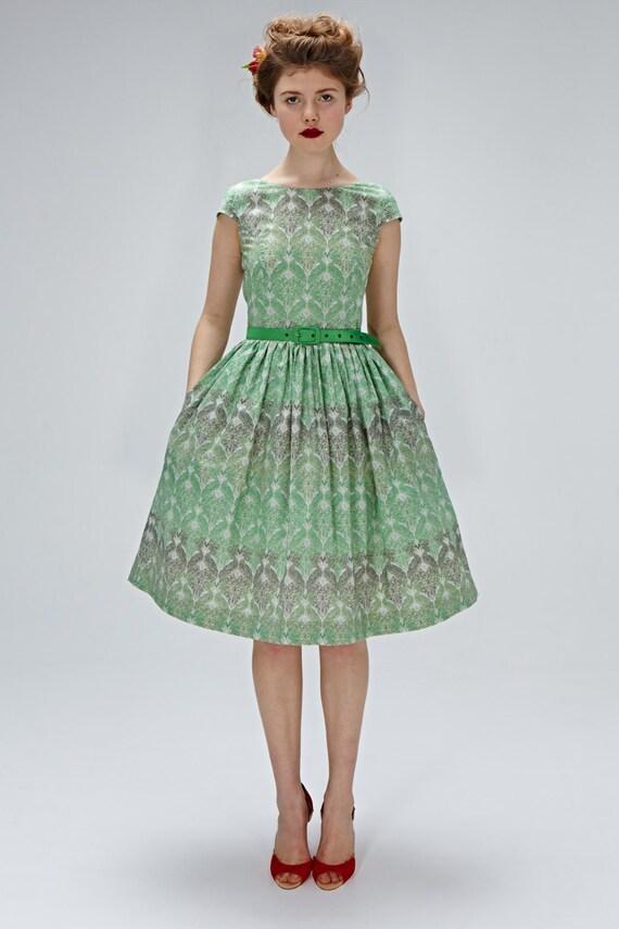 1950er Jahre inspiriert Kleid Hochzeit Gast Tee Länge Kleid